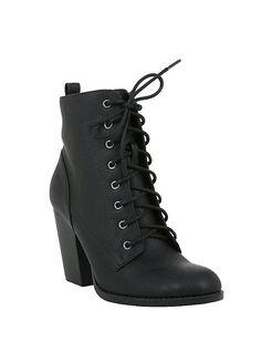 9d9239f9030 Black Lace-Up Heel Bootie