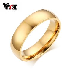 Vnox Promotion Classic Wedding Ring for Men / Women Gold / Blue / Silver Plated Stainless Steel Metal