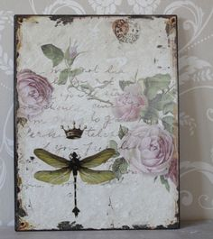 French style dragonfly and rose plaque - Melody Maison®