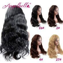 Angelbella Brazilian Front Lace font b Wigs b font with Baby Hair 150 Density Human Hair
