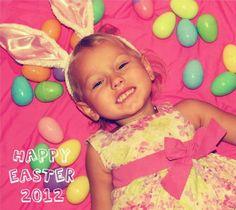 Easter picture idea plain white sheet. Colored eggs & bunny ears!