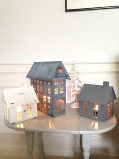 Image of White and Grey Zinc Metal Tealight Houses