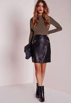 Missguided - Contrast Bodycon Rib Dress With PU Skirt Khaki/Black