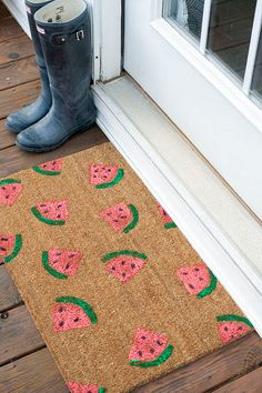 DIY Watermelon Welcome Mat  Summer Craft Project
