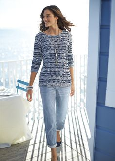 The Boyfriend Jean: The boyfriend is back– this time in stripes. #DestinationFabulous #spring #chicos