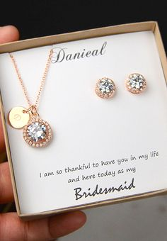 Rose gold,Bridesmaids necklace ,Personalized Bridesmaids Gift,Crystal Stud Earrings,Bridesmaids Gifts,Spring Wedding ,be my bridesmaid card PLEASE SEE THE OPTION ON THE RIGHT OF THE LISTING FOR ALL PRICE ►►► NECKLACE: - comes with 1 personalized disc charm . I can stamp 1 or 3 small initials on this charms . When you place order , on note to seller box at check out , please leave me a note for what to stamp on this charm  - available in 18k white gold or yellow gold or rose gold plated - 16…