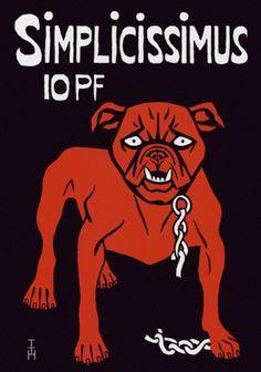 """tache rouge/ fond noir, chien menaçant qui a brisé sa chaine. """"revue qui mord""""  Thomas Theodore Heine  Affiche pour la revue Simplicissimus - 1896"""