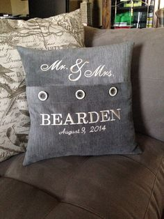 Mr & Mrs  Personalized Pillow  Machine by debbierofstad on Etsy, $48.00