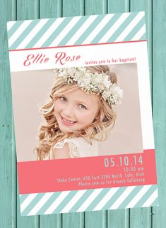 LDS baptism invitation, baptism invite, girl baptism inviate