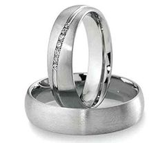 His & Hers Matching Set Titanium Steel Wedding Band Ring Sold by Pair , Free Engraving