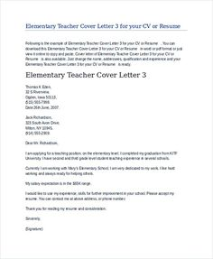 Teacher Cover Letter Free Download  Teaching Cover Letter