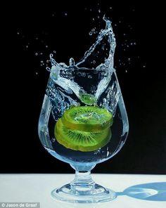 """Kiwi Splash"" Acrylic on canvas 30in x 40in, by Canadian artist Jason de Graaf."