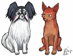 Ururu and Jinta as dogs