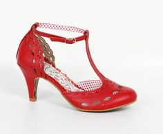 Bettie Page Raine Red T Bar Shoes