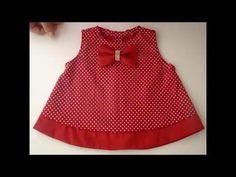 Vestido infantil fácil com molde de 3 meses a 2 anos | Cantinho do Video Costura em Roupas