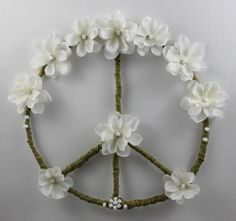 White Flower Peace Sign Boho Hippie by PeacePetalsAndPearls