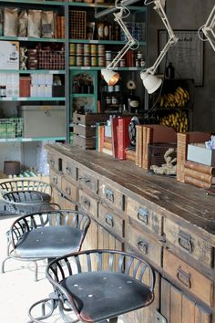 Drawered Counter ... Stools .. Lights...gorgeous workspace