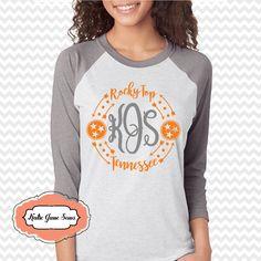 Tennessee Raglan Tshirt, Rocky Top TN Shirt, Tristar Adult Raglan Tshirt, TN Football by KatieJaneSews on Etsy
