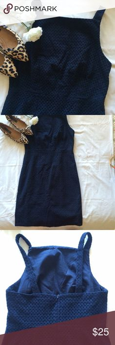 J Crew Navy Dress 100% cotton eyelet dress • navy blue • great quality and top condition • size 6 • 💕🎀🛍 sabineforever.com for style, beauty and lifestyle finds J. Crew Dresses
