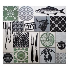"""""""Meat the Box"""" from ARTTILES. Kitchen backsplash made fun. Box of 17 ceramic tiles, made by danish artist Trine Galschiøt and Anette Nørmark. Handprinted in Copenhagen. Colours: Light ice blue, relaxed green, light grey and black. www.arttiles.eu"""