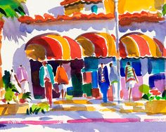 Delray Beach, Colony Hotel, Florida, Watercolor Print, Tropical Art, Beach Art, Ellen Negley, Tropical Painting 11 x 14, 16 x 20 or 20 x 24  THE COLONY HOTEL is a landmark in Delray Beach, Florida and it was really fun trying to capture the charm of this historic building. This painting appeared on the cover of the May/June issue of Delray Beach Magazine. This reproduction is printed on 350 g/m fine art textured paper and printed with Epson archival inks guaranteed to last a lifetim...