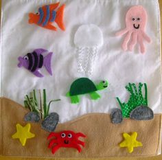 Ocean Quiet Book - free page of putting ocean pieces where ever, kept in a 'rock' pocket---sort animals to land or water Fun Crafts, Crafts For Kids, Book Libros, Activity Cube, Baby Quiet Book, Felt Gifts, Felt Quiet Books, Toddler Books, Busy Book