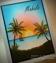 Crafting The Web: Aloha Hero Arts Cards, 1st Birthday Cards, Nautical Cards, Beach Cards, Palmiers, Stamping Up Cards, Watercolor Cards, Cool Cards, Creative Cards