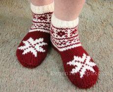 Новогодние тапочки-носочки своими руками. Вязание на двух спицах.