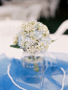 Blue Hydrangea & Baby's Breath Mason Jar Centerpiece| Intimate Historic Deepwood Estate Summer Wedding|Photographer: Kel Ward Photography