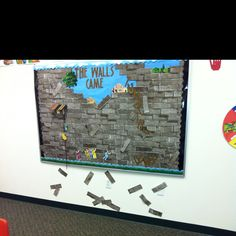 """Walls of Jericho bulletin board. Should have used darker letters. It says, """"the walls came tumbling down""""."""