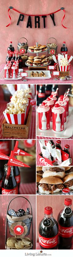 Cherry Coke Float Chocolate Cupcakes with Free Football Party Printables. I Ideen für eine Mottoparty zum Thema Film und Kino mit kostenlosen Downloads