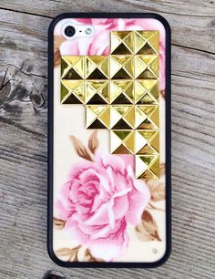 Cream Floral Gold Studded Cross Wildflower iPhone 5 case