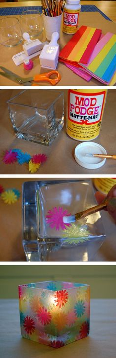 DIY Stained Glass Votives - Cool idea, would use a different design!