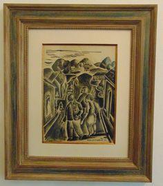 """DI CAVALCANTI,nanquin sobre papel.Representando""""final de festa"""",medindo 46 x 35 cm.A.C.I.D"""