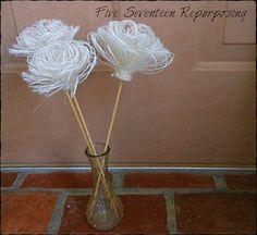 Five Seventeen Repurposing: Burlap Flower Arrangement