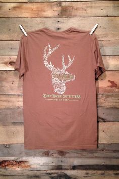 Deep River Outfitters Wildlife Series - Deer: Where the River Flows Life Abounds Available in short and long sleeve pocket tees.
