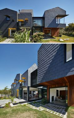 Dark grey slate tiles covers this modern home and from this angle, you can see how the patterns of the tile installation change depending on the section of the house.