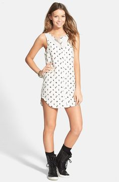 Rvca street seen print mesh inset shirtdress available at nordstrom