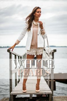 Zara White Blazer, Lindex Pearl Necklace, Giuseppe Zanotti Shoes, Zara Lace Shorts, Zara Beige Jumper, Chanel Bag