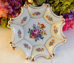Beautiful Graf Von Henneberg German Porcelain Bowl Dresden Flowers Gold Gild