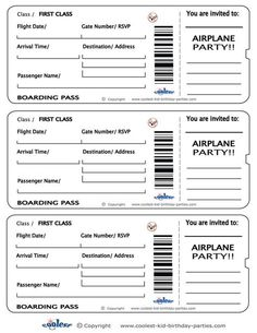 Printable Airplane Boarding Pass Invitations - Coolest Free Printables: More