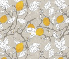 The Lemon Orchard Custom Fabric By Nouveau Bohemian - Cotton Fabric by the Yard with Spoonflower