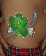 Double rainbow with shamrock body art for St. Patty's Irish Day...