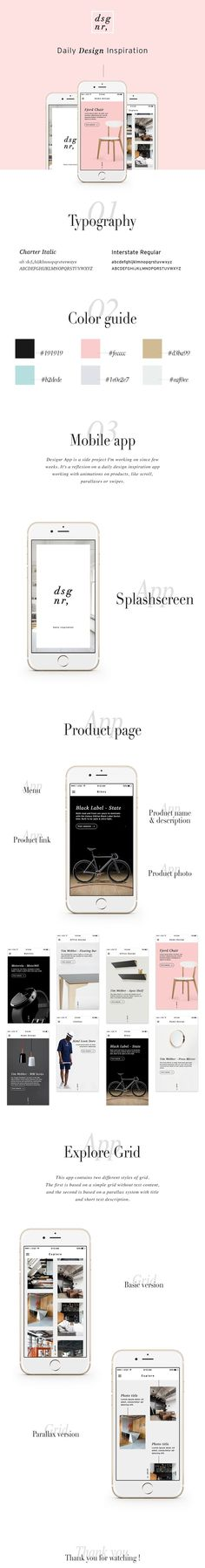 Daily design inspiration app working with animations on products, like scroll, parallaxes or swipes.