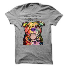 Happines is a Pit Bull Smile T Shirt #pitbull #shirt