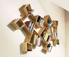 Peter Marigold's asymmetrical, hand crafted shelving units