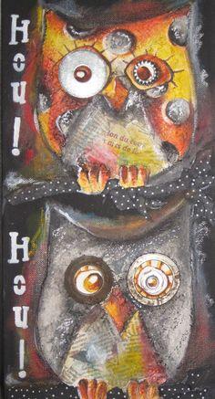 """Tableau techniques mixtes Hiboux: """" Hou, Hou!""""."""