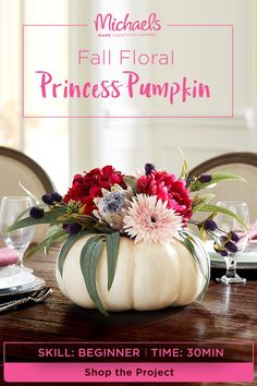 Be the fairest of the fall with our Fall Floral Princess Pumpkin DIY. This centerpiece is the perfect addition to your table or as a gift to fellow fall lovers.) MAKE this centerpiece in just a few simple steps. Find the complete Autumn Crafts, Thanksgiving Crafts, Thanksgiving Decorations, Seasonal Decor, Holiday Crafts, Holiday Fun, Holiday Decor, Harvest Crafts, Fall Halloween