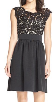 Black fit and flare dress with lace