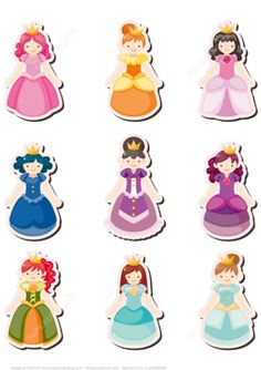 Printable Princess Stickers for Girls Paper craft Printable Stickers, Free Printables, Castle Crafts, Crafts For Girls, Girly Girl, Paper Dolls, Fairy Tales, Medieval, Classroom